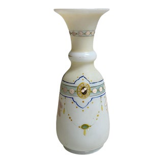 Antique French Opaline Hand Painted Vase For Sale