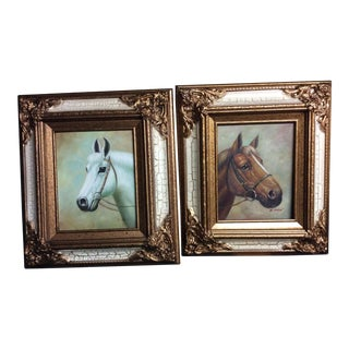 Original Horse Head Portraits Oil Paintings on Canvas Signed M. Aaron - a Pair For Sale