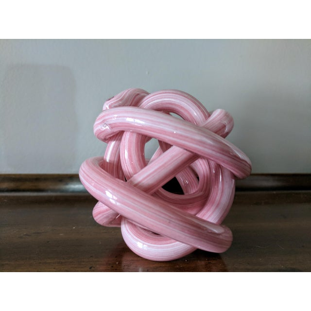 Pink Blown Glass Twisted Knot Sculpture For Sale - Image 12 of 12