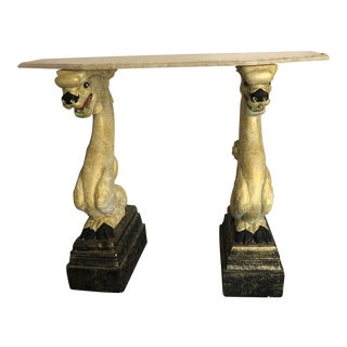 1970s Asian Dragon Marble Console Table For Sale