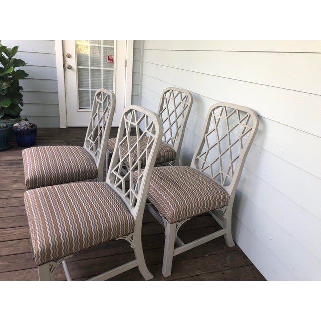 Textile Hickory Furniture Linwood Chippendale Chairs- Set of 4 For Sale - Image 7 of 11