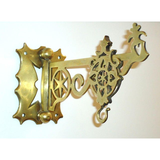 Metal 19th Century Rare New England Brass Wall Bracket with Hearts & Stars For Sale - Image 7 of 9