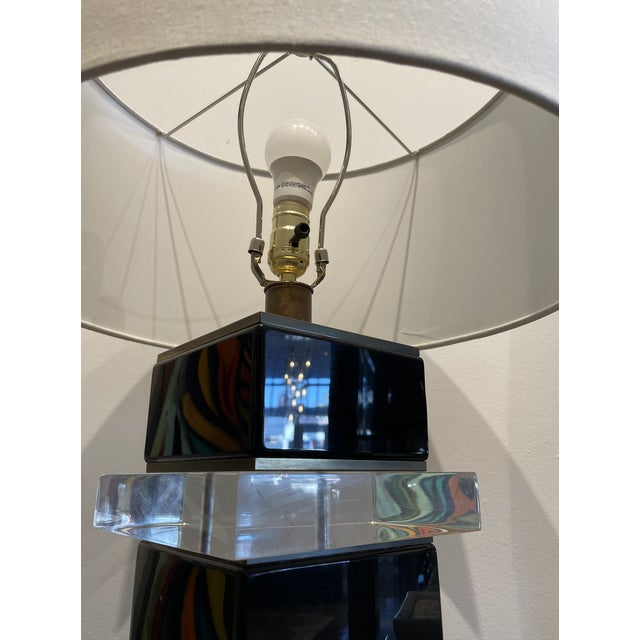 Contemporary 1970s Lucite Table Lamp For Sale - Image 3 of 6