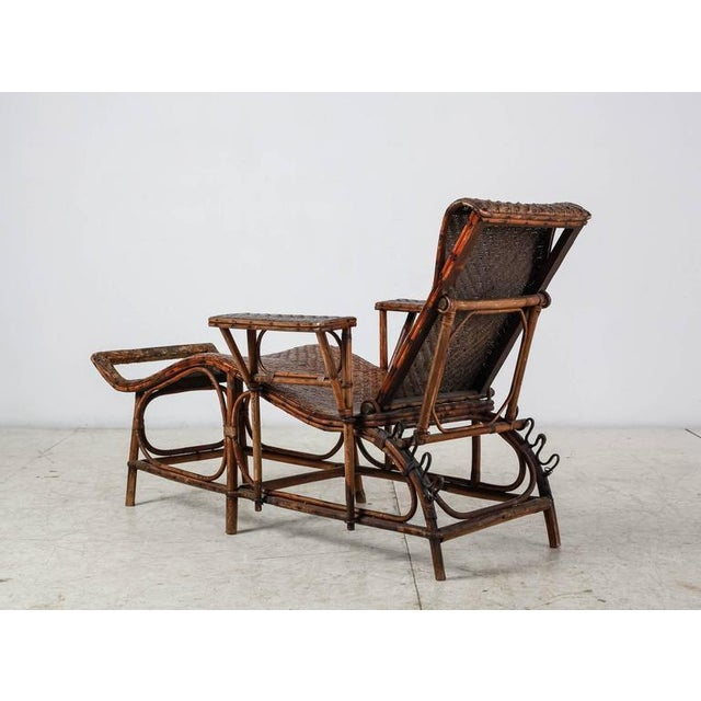 Adjustable Bamboo and Rattan Garden Chaise, Germany, 1920s-1930s For Sale - Image 4 of 10