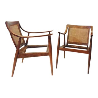 Mid Century Modern Scoop Arm Chairs Cane Back Bentwood Lounge Chairs - A PAIR