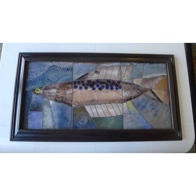 Mid-Century Framed Fish Tile - Image 4 of 7