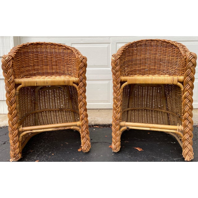 Vintage 1970's Crespi Style Woven Rattan and Bamboo Bar Stools - a Pair For Sale - Image 13 of 13