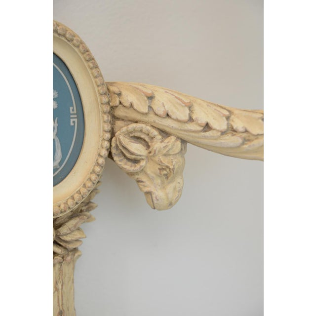 Ceramic Pair of 19th Century Carved Wood Sconces Centered by Wedgewood Bisque Plaques For Sale - Image 7 of 10
