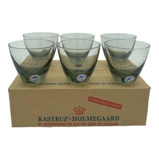 Mid Century Danish Modern Kastrup-Holmegaard Smoke Copenhagen No. 4 Cocktail Glass Set in Box For Sale