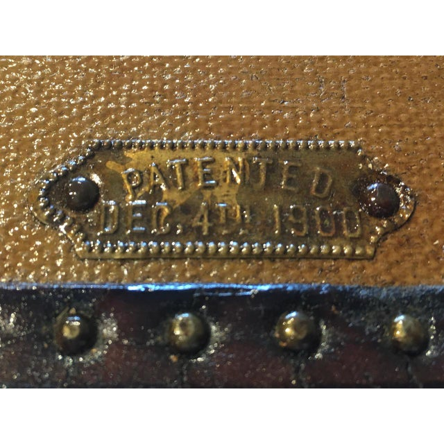 Brown Early 1900s Canvas Travel Trunk For Sale - Image 8 of 13