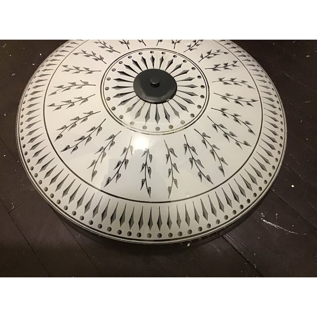 20th century ceiling light fixture. The original vintage art glass shade. Cool abstract design. Very rare trim. The finial...