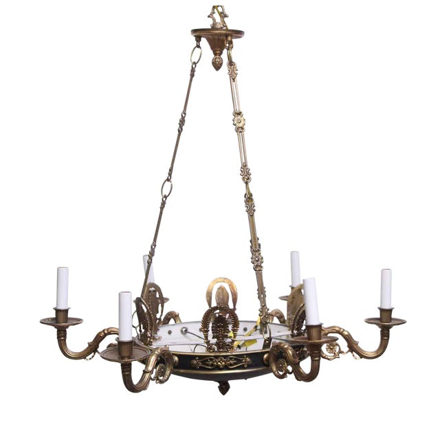 Empire Style 6 Arm Brass Chandelier With Black Finish - From the Waldorf Astoria For Sale