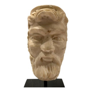 Ancient Roman Marble Statue/Sculpture Head of a Bearded Man With a Cap For Sale