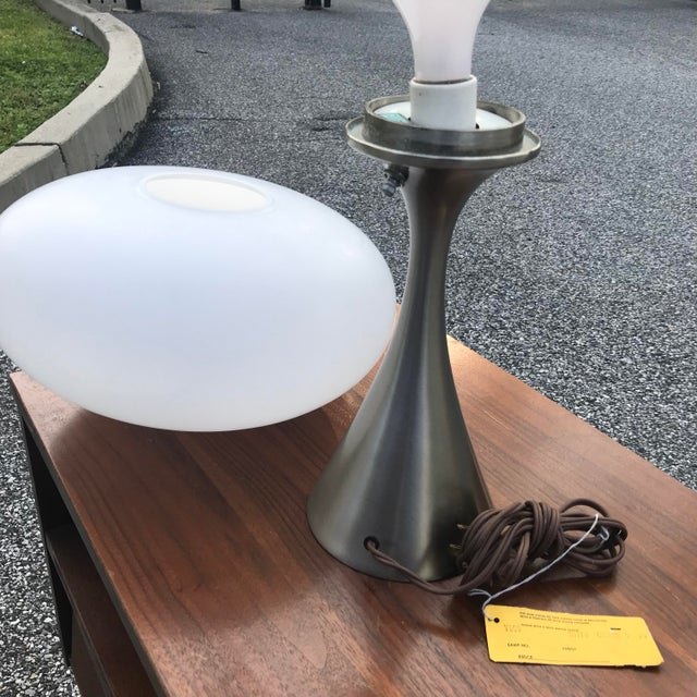 Chrome Laurel Mushroom Lamp in Satin Chrome For Sale - Image 7 of 13