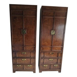 1960s Chinoiserie Thomasville Burled Walnut Pier Cabinets - a Pair For Sale