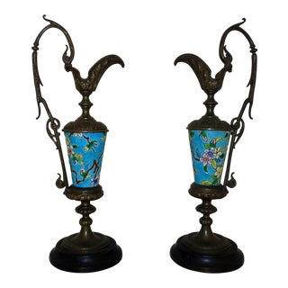 Antique Longwy French Mantle Ewers - a Pair For Sale