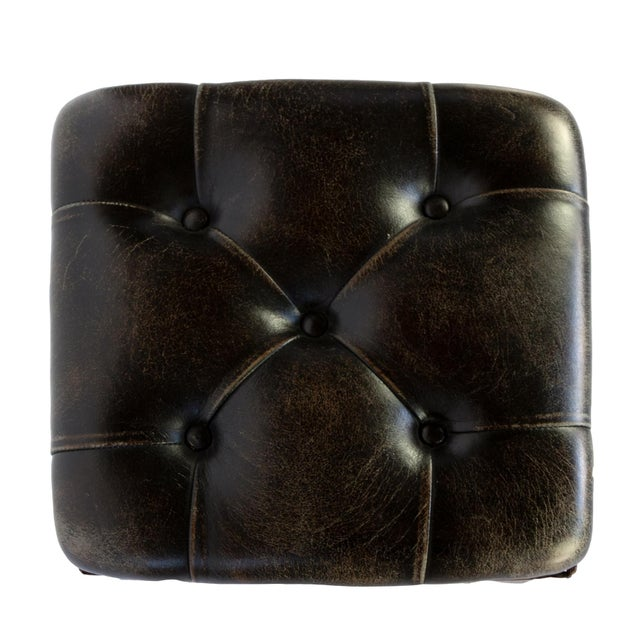 Arts and Crafts Period Square Stool Upholstered in Tufted Dark Leather, English, Circa 1880 For Sale - Image 9 of 11