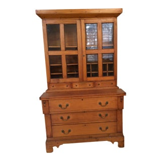 19th Century Cherry Wood Writing Desk Cabinet For Sale