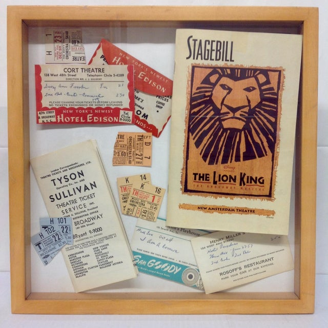 Shadowbox with various pieces of 1950s Broadway memorabilia. A great piece for any theatre buff or media room.
