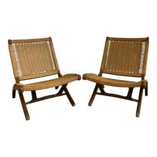 Hans Wegner Style Rope Chairs a Pair For Sale