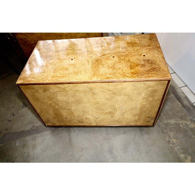 Mid Century Vintage Widdicomb Campaign Styles Nightstand in Burlwood- A Pair For Sale - Image 10 of 13