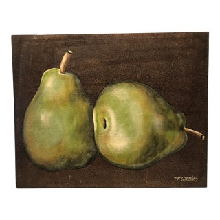 Still Life Pear Painting Signed P. Lorenzo For Sale