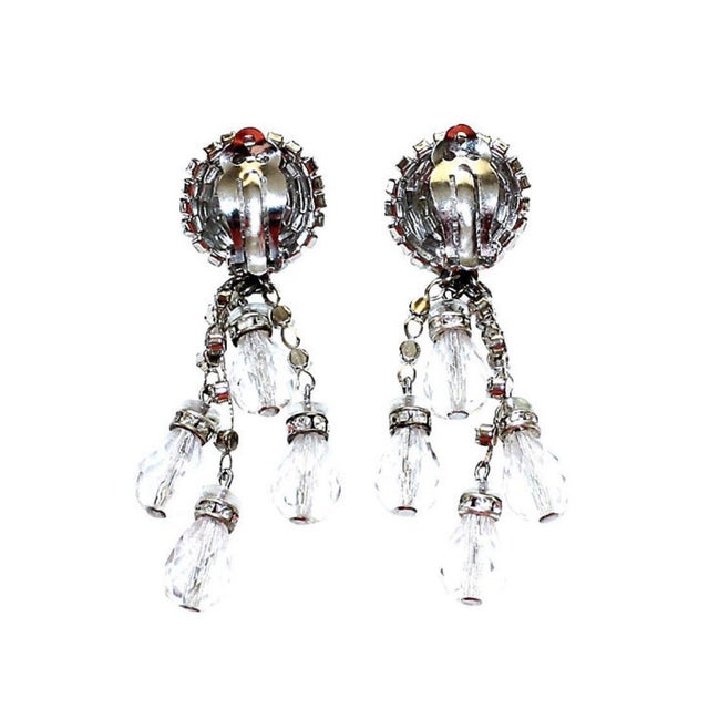 1960s William deLillo Crystal Chandelier Earrings For Sale - Image 4 of 6