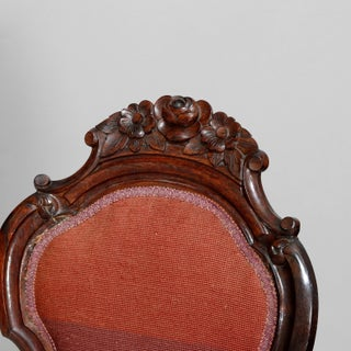Mid 19th Century Antique Victorian Carved Walnut and Floral Needlepoint Parlor Chair Preview