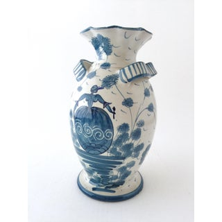 Italian Mid-Century Hand-Painted Blue and White Vase Preview