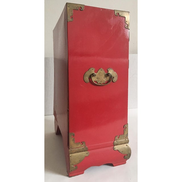 Vintage Red Lacquer Tansu Chest Jewelry Box - Image 6 of 11