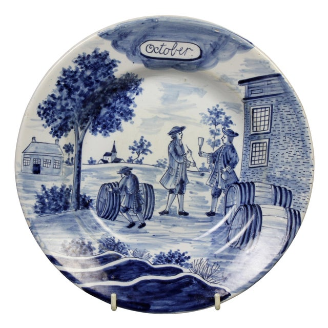 Collection of Delft Blue and White Month Plates - Set of 14 For Sale In Boston - Image 6 of 13