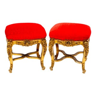 Vintage Giltwood Tabourets in Hunt Slonem Fabric- a Pair For Sale