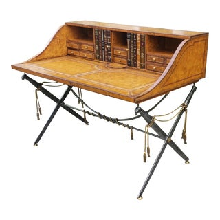 Maitland Smith Leather Clad Campaign Secetary Desk For Sale