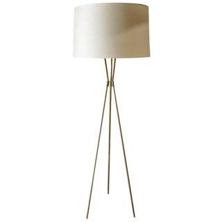 1965 Gerald Thurston for Lightolier Style Brass Tripod Floor Lamp For Sale
