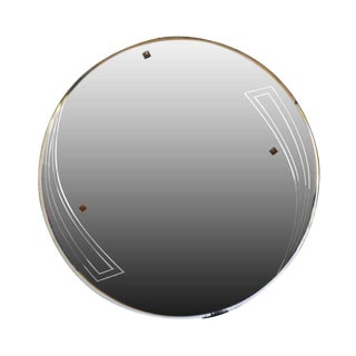 Deco Style Round Frameless Mirror For Sale
