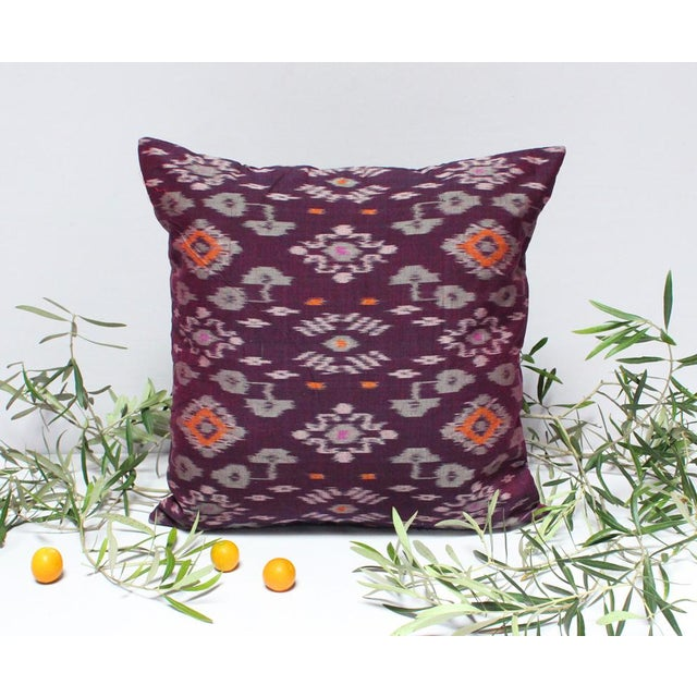 Karma Purple Balinese Handwoven Ikat Pillow - Image 2 of 5