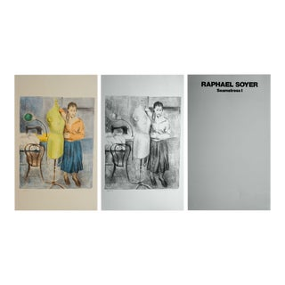 """Late 20th Century """"Seamstress I"""" Two Figurative Lithographs and Portfolio Cover by Raphael Soyer - Set of 3 For Sale"""