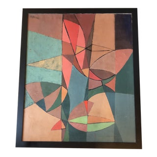 Vintage Large Original Geometric Abstract Painting Signed 1950's For Sale