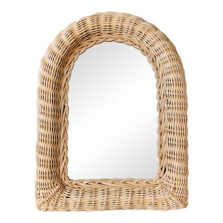 Mid 20th Century Natural Wicker Wall Mirror