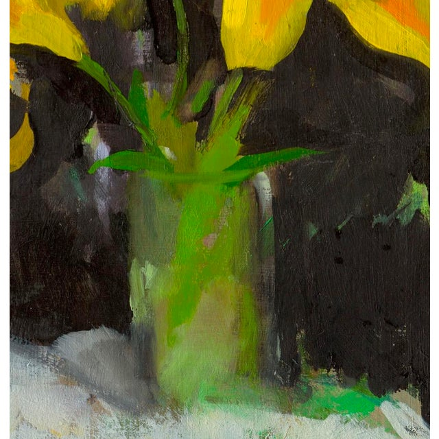 Bright yellow lilies against a black background, by artist Amy Griffith Colley. This is a giclee of the original painting,...