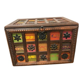 Vintage Boho Chic Tabletop Storage Chest - Wood With Multi Color Pattern For Sale