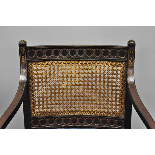 Early 21st Century Antique English Regency Style Black Lacquer Cane Armchairs- A Pair For Sale In Philadelphia - Image 6 of 12