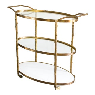 Vintage Brass Three Tiered Bar Cart For Sale