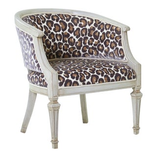 Early 21st Century Antique Swedish Barrel Back Animal Print Chair For Sale