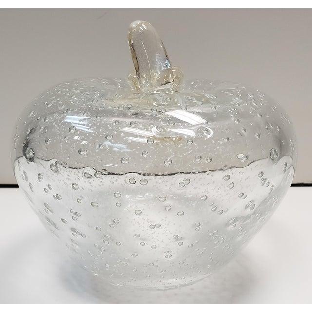 Circa 1970 Italian Murano Glass Bullicante Gold Flecks Apple Sculpture Attributed to Alfredo Barbini For Sale - Image 4 of 7