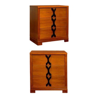 Exquisite Restored Pair of Chests in Ribbon Mahogany For Sale
