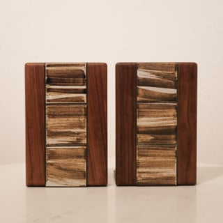 Jane and Gordon Martz Walnut Ceramic Bookends for Marshall Studios Preview