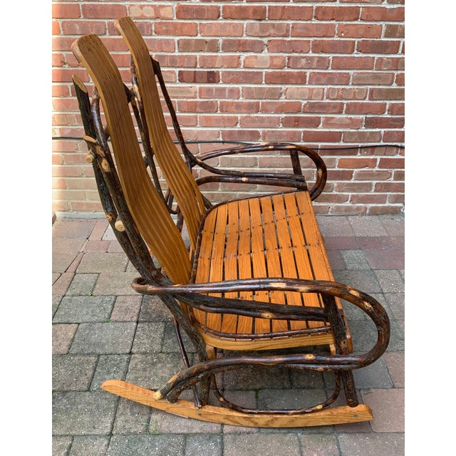Rustic Bentwood and Twig Adirondack Double Vintage Rocking Chair For Sale - Image 3 of 13