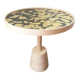 Mica and Gold Leaf Top Side Table For Sale