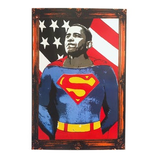 "Mr. Brainwash "" Obama Superman "" Rare Limited Release Lithograph Print Pop Art Poster For Sale"